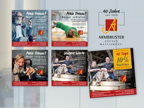 """Anzeigen: Armbruster Möbelstudio, Oberwolfach - Anzeigenserie """"Jubiläum"""""""