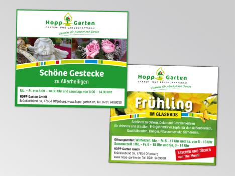 Hopp Garten, verschiedene Anzeigen