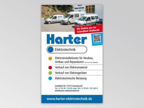 Beidseitig bedrucktes Schild Harter Elektro, Schenkenzell
