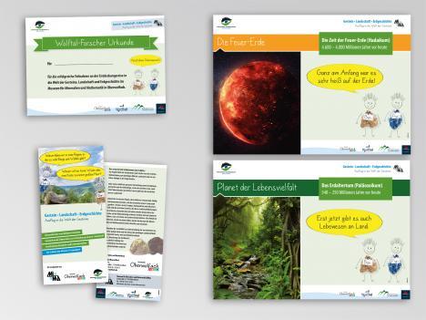 """Geoprojekt """"Ausflug in die Welt der Gesteine"""": Schilder, Urkunde und Flyer"""