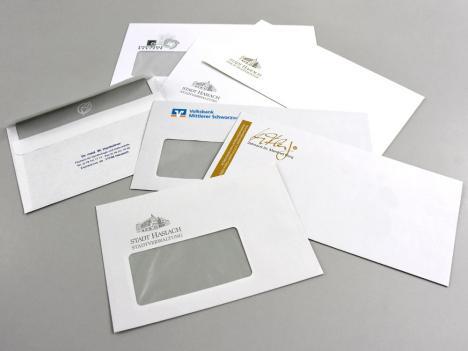 Kuverts in allen Formaten, mit oder ohne Sichtfenster