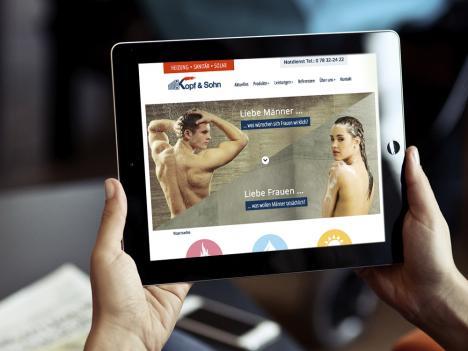 Internetseite im responsive Webdesign Kopf & Sohn, Steinach