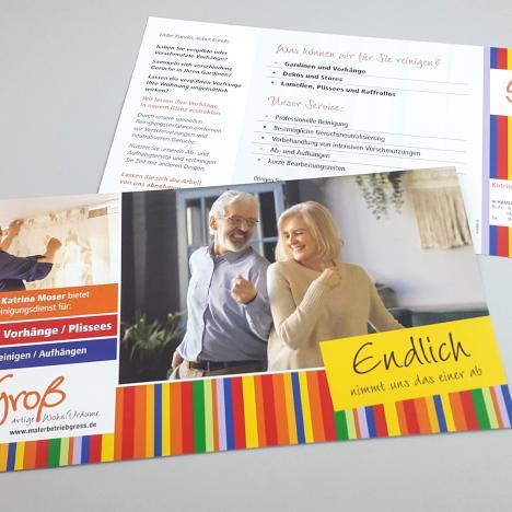 Flyer für den Gardinen-Reinigungsservice von Groß Malerbetrieb