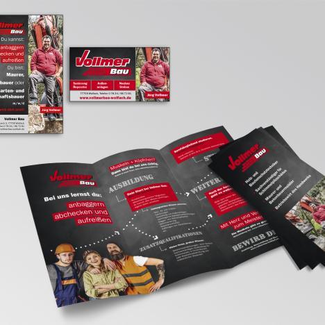 Vollmer Bau: Flyer und Anzeigen im Coorporate Design