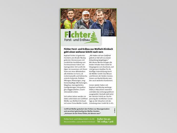 Anzeigengestaltung Fichter Forst- und Erdbau