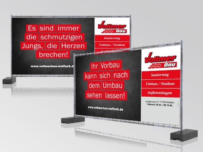 Vollmer Bau - Bauzaun-Banner als originelle Werbefläche