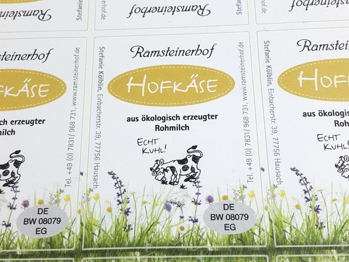 Ramsteinerhof, selbstklebende Etiketten Hofkäse