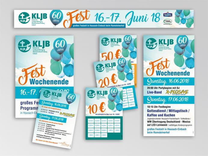 Druck: Banner, Plakate und Flyer für das Jubiläum der kath. Landjugend Hausach-Einbach