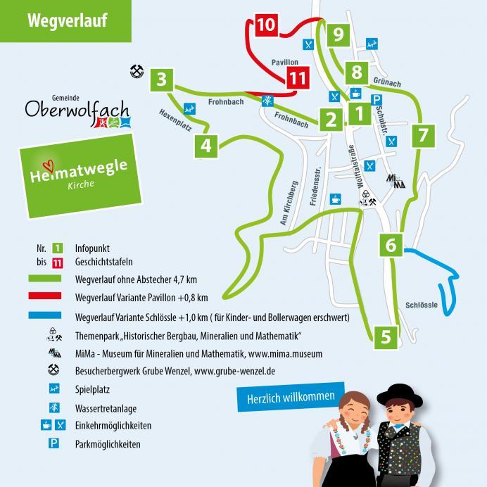 Skizzierter Wegverlauf - Heimatwegle Kirche Oberwolfach