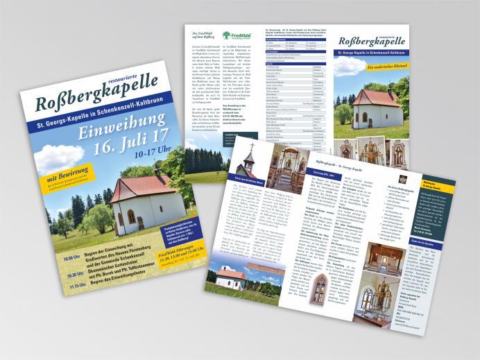 Faltblatt und Plakat für die restaurierte Roßbergkapelle in Schenkenzell-Kaltbronn