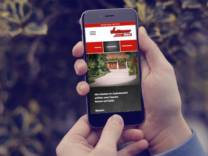 Internetseite im responsive Webdesign Vollmer Bau, Wolfach
