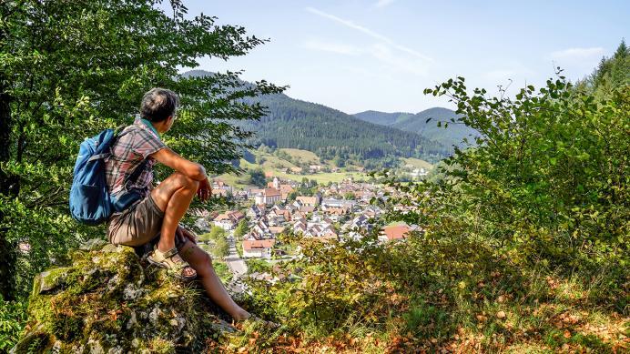 Ausblick vom Schlössle - Heimatwegle Oberwolfach Kirche