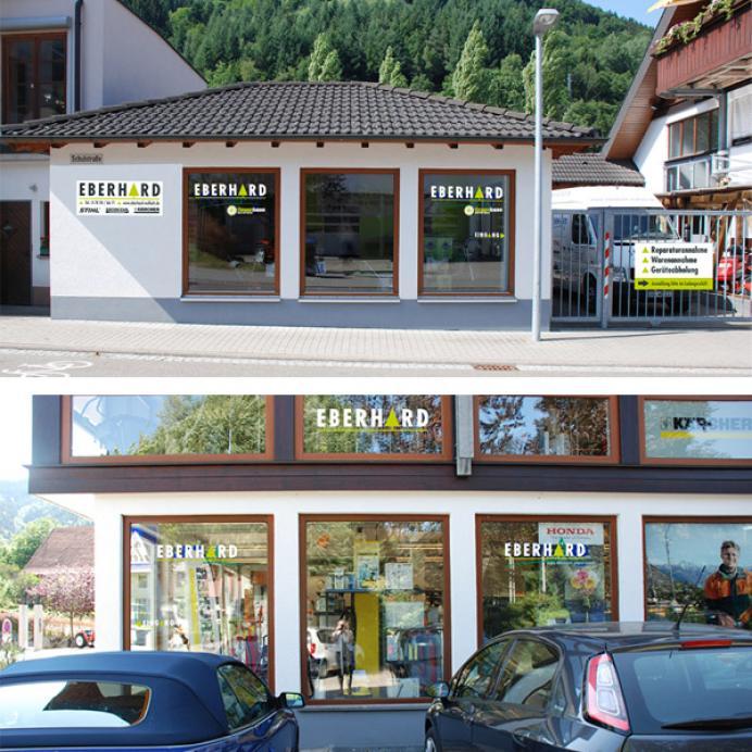 Werbestrategie Eberhard Schaufensterbeschriftung und Schild