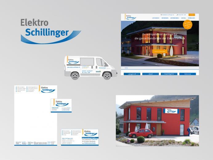 Elektro Schillinger Hausach: Logo, Homepage, Druckprodukte, Fahrzeugbeschriftung und Außenwerbung