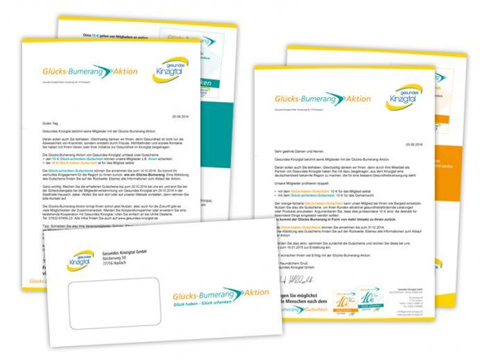 Werbestrategie Glücks-Bumerang-Aktion: Briefe, Kuverts